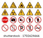 prohibition and warning signs....   Shutterstock .eps vector #1702624666