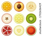 fruit slices vector icons set... | Shutterstock .eps vector #1702636429