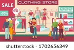 clothing buyers on sale at... | Shutterstock .eps vector #1702656349