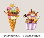 cartoon ice cream with o lot of ... | Shutterstock .eps vector #1702659826