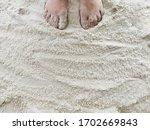 feet on beach sand. vacation... | Shutterstock . vector #1702669843