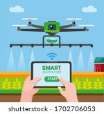 drone smart agriculture  farmer ... | Shutterstock .eps vector #1702706053