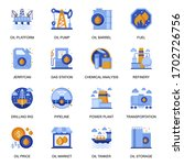 oil industry icons set in flat...
