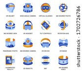 virtual reality icons set in...