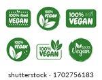 vegan vector logo. 100  vegan.... | Shutterstock .eps vector #1702756183