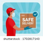 safe home delivery during... | Shutterstock .eps vector #1702817143
