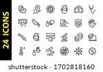 coronavirus set of icons on the ... | Shutterstock .eps vector #1702818160