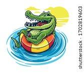 cartoon crocodile swimming with ... | Shutterstock .eps vector #1702819603