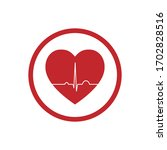 red heart flat icon logo with... | Shutterstock .eps vector #1702828516