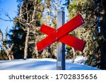Snowmobile Road Sign In The...