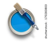 high angle view of blue paint...