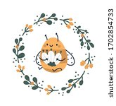 cute childish print with bee... | Shutterstock .eps vector #1702854733