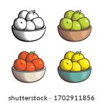pile of apples in a bowl. red ... | Shutterstock .eps vector #1702911856