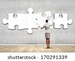 rear view of businesswoman... | Shutterstock . vector #170291339