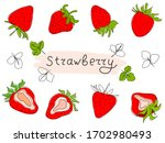 fresh strawberries isolated on... | Shutterstock .eps vector #1702980493