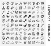 doodle baby icon sets   Shutterstock .eps vector #170302559