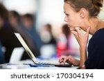 business woman using laptop... | Shutterstock . vector #170304194