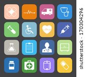 flat color style medical icons... | Shutterstock .eps vector #170304296
