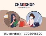 online shopping on smartphone...   Shutterstock .eps vector #1703046820