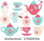 floral tea set | Shutterstock .eps vector #170305526