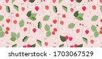 wild strawberries pattern.... | Shutterstock .eps vector #1703067529