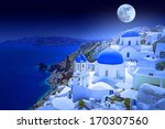 Full Moon Over Oia Town On...