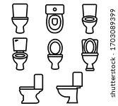 toilet set line icon  logo...   Shutterstock .eps vector #1703089399
