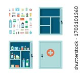 Medicine chest full of drugs, pills and bottles. Empty metal open and closed medical cabinet. Medications that can be put in the first aid kit. Vector illustration in flat style on white background