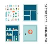 medicine chest full of drugs ... | Shutterstock .eps vector #1703101360