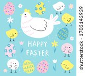 Happy Easter Card With A Hen ...