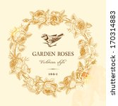 Stock vector vintage vector card with golden round frame of garden roses on a beige background victorian style 170314883