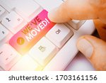 handwriting text we ve moved.... | Shutterstock . vector #1703161156