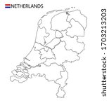 netherlands map  black and... | Shutterstock .eps vector #1703213203