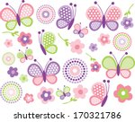 pink and green butterflies | Shutterstock .eps vector #170321786