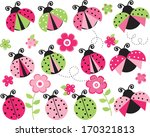 pink and green ladybugs | Shutterstock .eps vector #170321813