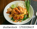Pad Thai Placed On A Wooden...