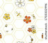 in the honeycomb bees and...   Shutterstock .eps vector #1703332996