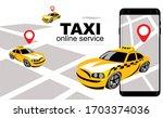 online city taxi service.... | Shutterstock .eps vector #1703374036