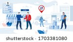 character store work in covid19 ... | Shutterstock .eps vector #1703381080