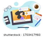 online video call chat with... | Shutterstock .eps vector #1703417983
