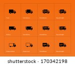 delivery trucks icons on orange ...