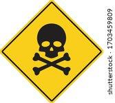 skull and bones warning icon on ... | Shutterstock .eps vector #1703459809
