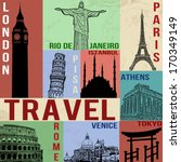 vintage travel poster with... | Shutterstock .eps vector #170349149