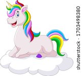 Beautiful Unicorn Cartoon On A...