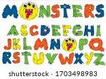 alphabet font  monster in... | Shutterstock .eps vector #1703498983
