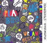hand drawn pattern for boys.... | Shutterstock .eps vector #1703509450