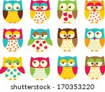 colorful owls | Shutterstock .eps vector #170353220