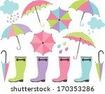 rain boots and umbrellas  girl  | Shutterstock .eps vector #170353286