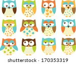 blue owls for boys | Shutterstock .eps vector #170353319