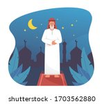 muslim man praying at night...   Shutterstock .eps vector #1703562880